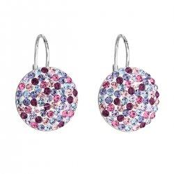 Stříbrné náušnice visací s krystaly Swarovski mix fialové kulaté 31176.3 31176.3