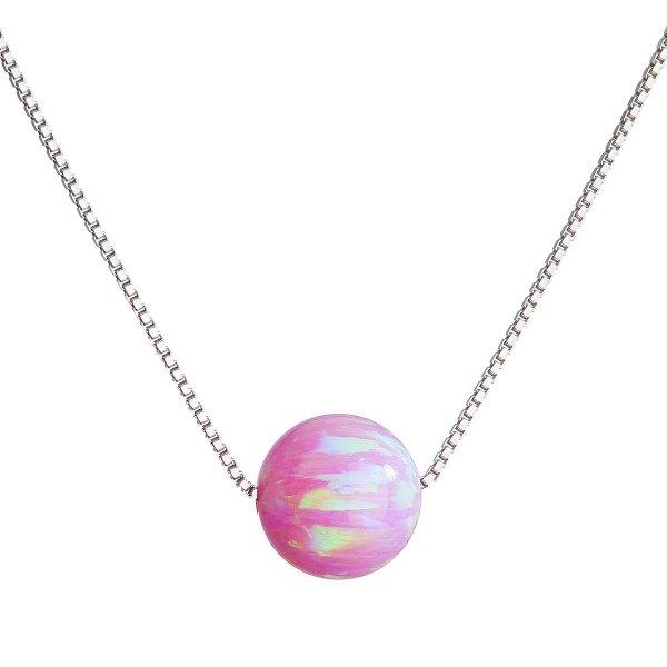 Stříbrný náhrdelník se syntetickým opálem růžový kulatý 12044.3 12044.3