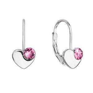 Stříbrné visací náušnice se Swarovski krystaly srdíčka 31299.3 růžové 31299.3