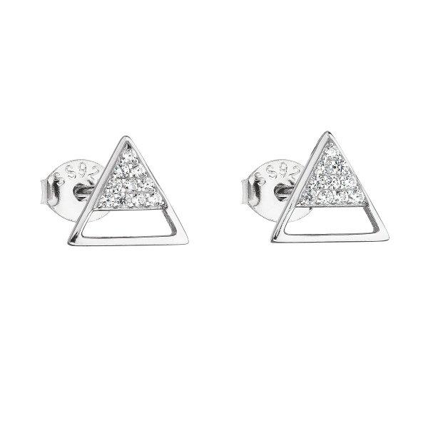 Stříbrné náušnice pecka se zirkonem bílý trojúhelník 11159.1 11159.1