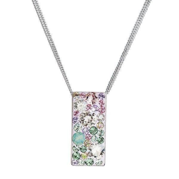 Stříbrný náhrdelník se Swarovski krystaly růžovo-zelený obdélník 32074.3 sakura 32074.3