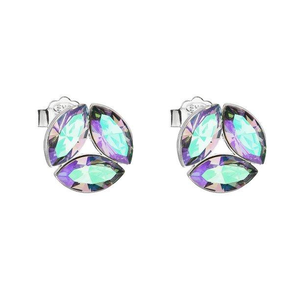 Stříbrné náušnice pecka s krystaly Swarovski zelené kulaté 31267.5 31267.5