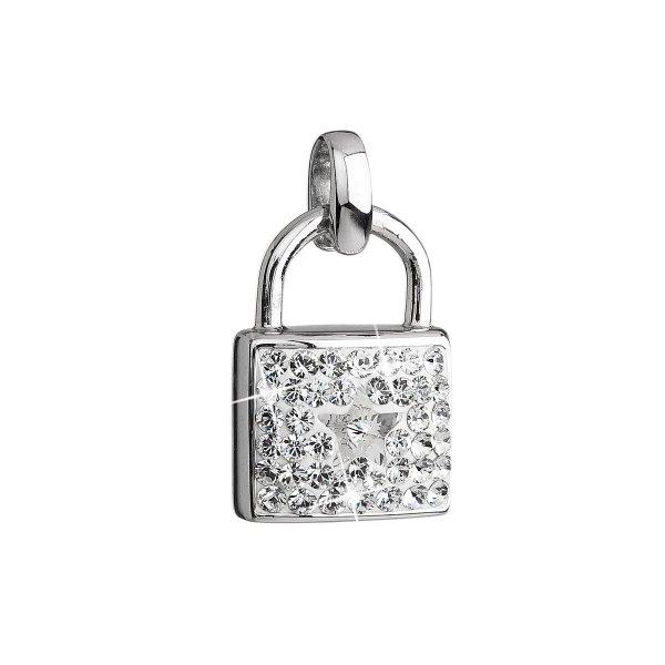 Stříbrný přívěsek s krystaly Swarovski bílý zámek 34808.1 34808.1