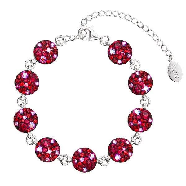 Stříbrný náramek se Swarovski krystaly červený 33048.3 cherry 33048.3