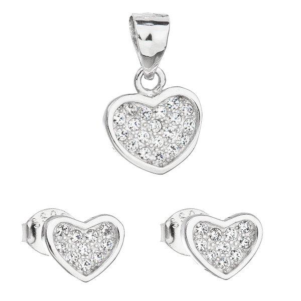 Sada šperků se zirkonem náušnice a přívěsek bílé srdce 19011.1 19011.1