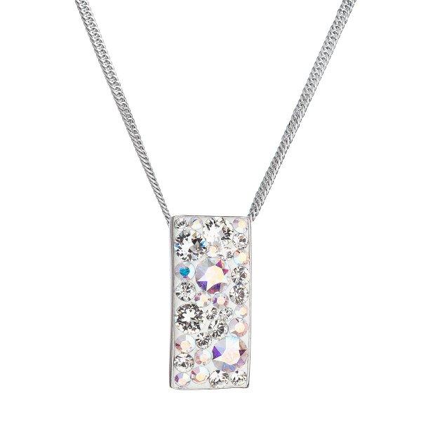 Stříbrný náhrdelník se Swarovski krystaly obdélník 32074.2 ab efekt 32074.2