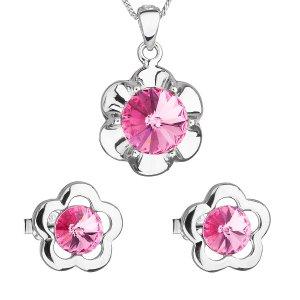 Sada šperků s krystaly Swarovski náušnice,řetízek a přívěsek růžová kytička 39173.3 39173.3