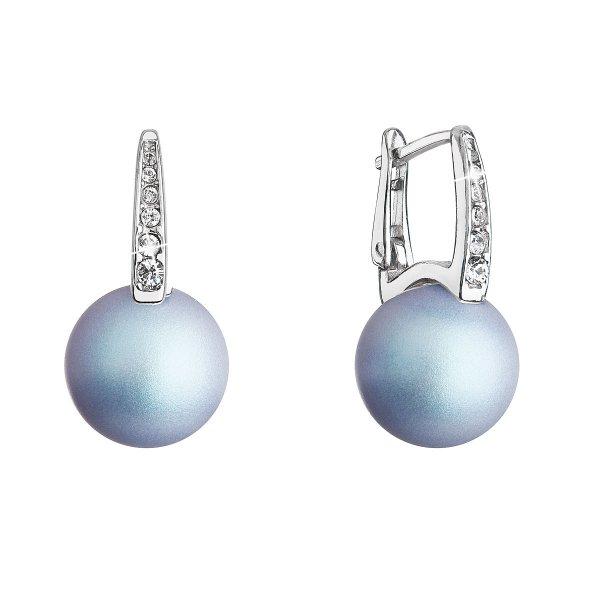 Stříbrné náušnice visací se Swarovski perlou a krystaly 31301.3 světle modré 31301.3