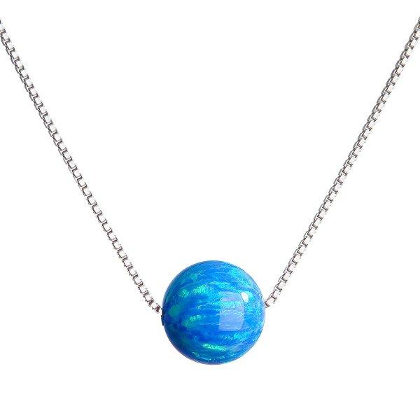 Stříbrný náhrdelník se syntetickým opálem modrý kulatý 12044.3 12044.3