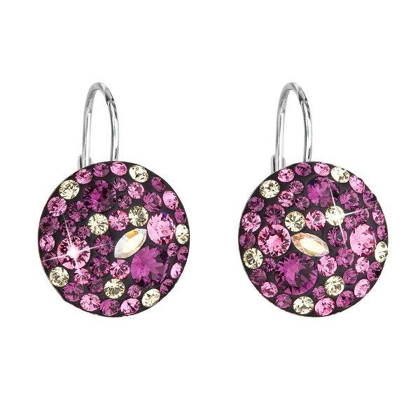 Stříbrné náušnice visací s krystaly Swarovski fialové kulaté 31176.3 amethyst 31176.3