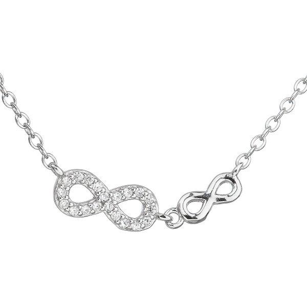 Stříbrný náhrdelník se zirkonem bílé nekonečno 12041.1 12041.1