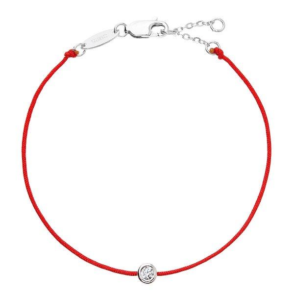 Červený náramek proti uhranutí stříbrný kulatý 13005.3 13005.3