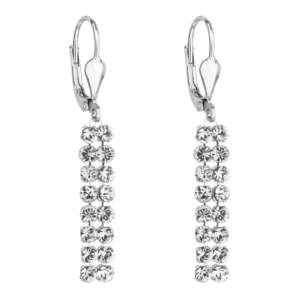 Stříbrné dlouhé náušnice visací se Swarovski krystaly 71111.1 71111.1