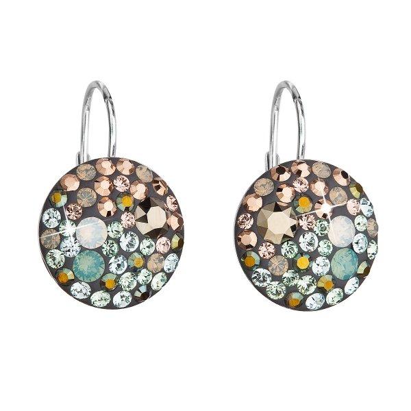 Stříbrné náušnice visací s krystaly Swarovski mix barev kulaté 31176.4 chameleon 31176.4
