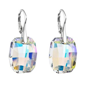 Stříbrné náušnice visací s krystaly Swarovski ab efekt obdélník 31297.2 31297.2
