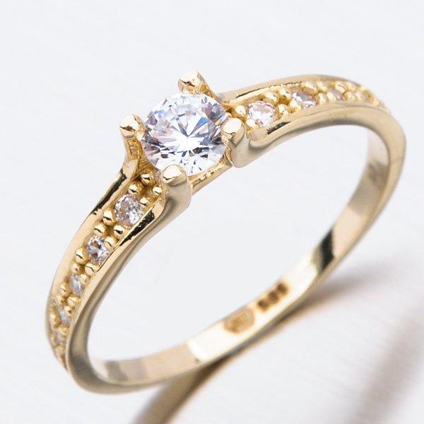 Zlatý prsten se zirkony 51GZ-2956Z