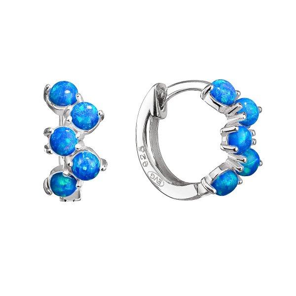 Stříbrné náušnice kruhy se syntetickými opály modré 11339.3 11339.3