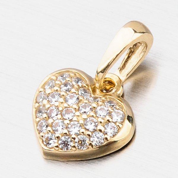 Zlaté srdce se zirkony 53DZ-2383Z-ZIR