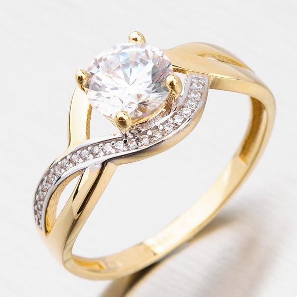 Zlatý prsten se zirkony 221P-111058