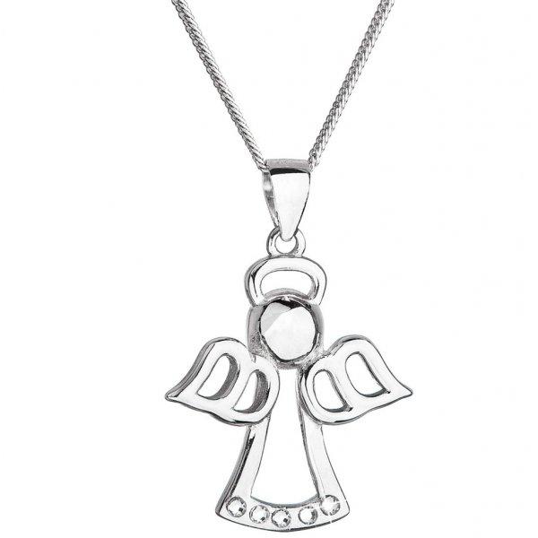 Stříbrný náhrdelník anděl se Swarovski krystaly bílý 32076.1 32076.1