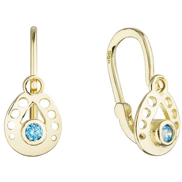 Zlaté dětské náušnice visací slzičky s modrým kulatým zirkonem 991016.3 991016.3