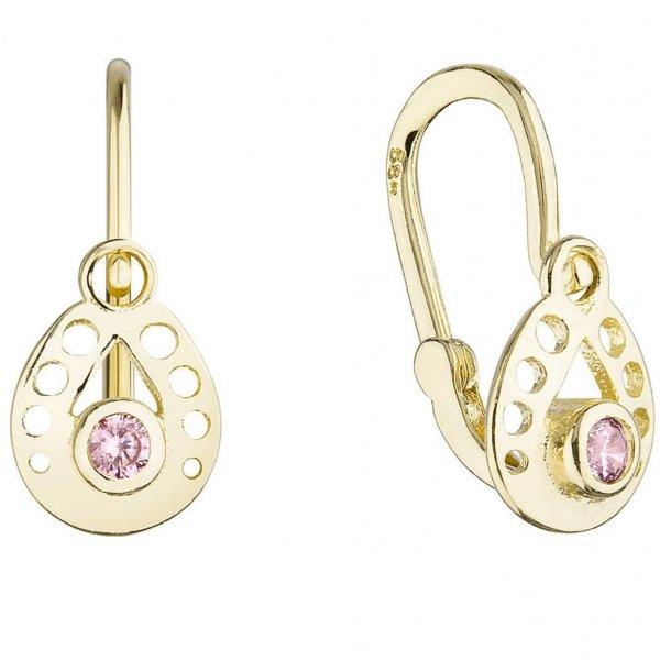Zlaté dětské náušnice visací slzičky s růžovým kulatým zirkonem 991016.3 991016.3