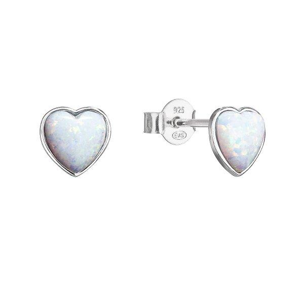 Stříbrné náušnice pecky se syntetickým opálem bílé srdce 11337.1 11337.1