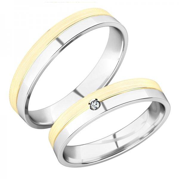 Snubní prsteny z bílého a žlutého zlata SP-288-BZ