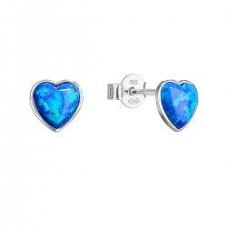 Stříbrné náušnice pecky se syntetickým opálem modré srdce 11337.3 11337.3