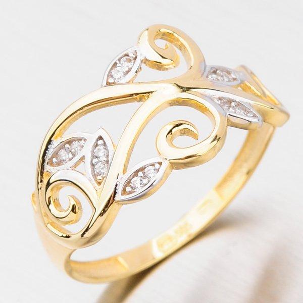 Zlatý prsten se zirkony 121P-111424