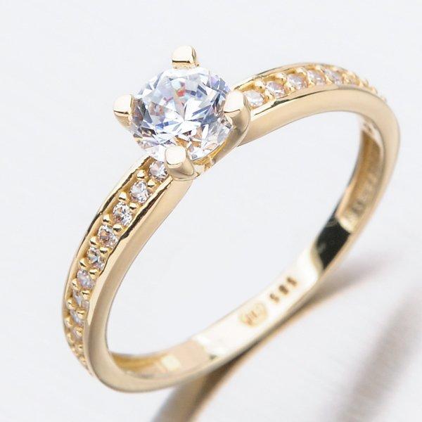 Zlatý prsten se zirkony 51GZ-2354Z