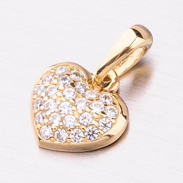 Zlaté srdce se zirkony 53DZ-6295Z-ZIR