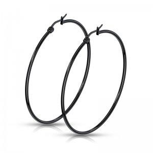 Velké kruhy kroužky v černé barvě SEHHBJ-1201K-40