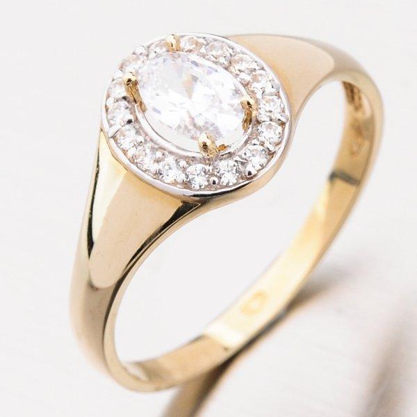 Zlatý dámský prsten se zirkony PKL21-008