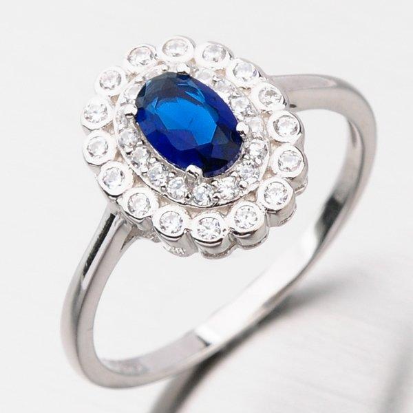 Stříbrný prsten se safírem GST-11237