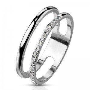Ocelový prsten se zirkony RMHBJ-117176-ST