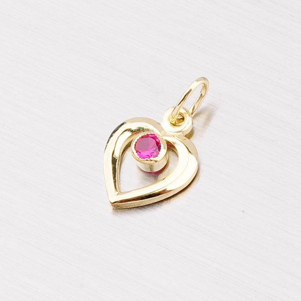 Zlaté srdce s červeným kamínkem 43-2316