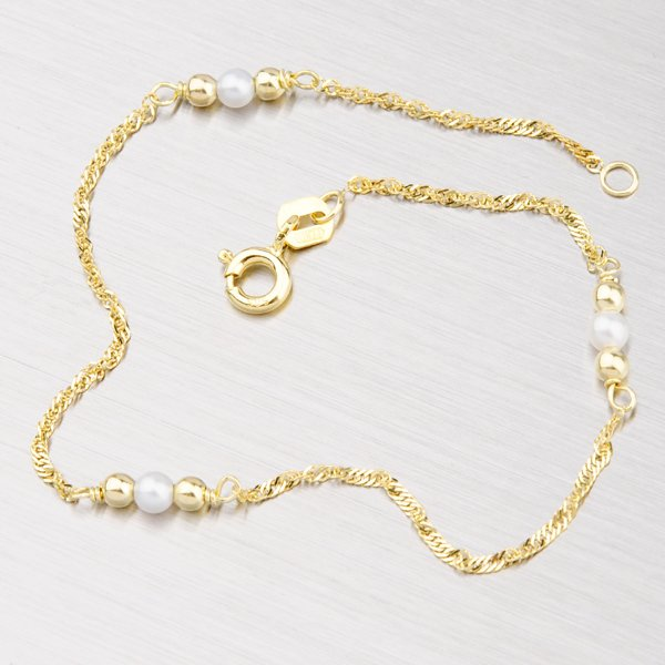 Zlatý náramek s perličkami 44-1142