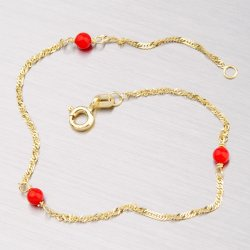 Zlatý náramek s červenými korály 44-1141
