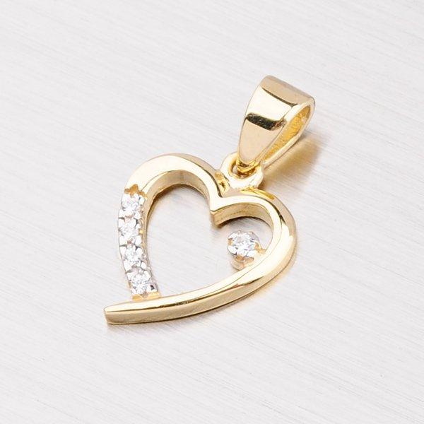 Zlatý přívěsek ve tvaru srdce se zirkony 43-2494