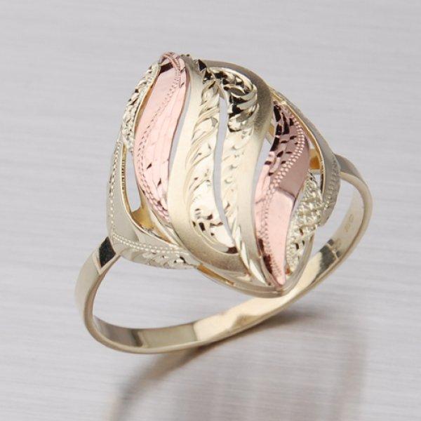Prsten ze žlutého a červeného zlata 51P-535