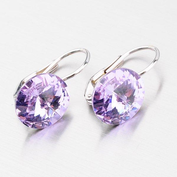 Stříbrné náušnice s fialovým krystalem 10 mm N325F-JK