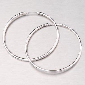 Rhodiované náušnice kruhy 40 mm 6191BIS