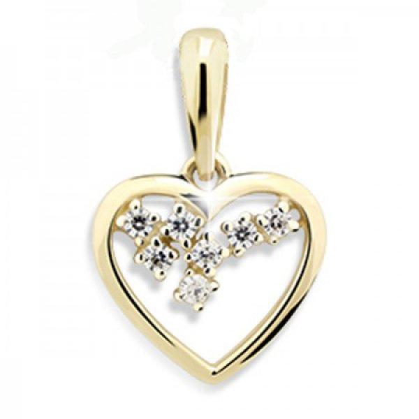 Zlaté srdce se zirkony DZ1606Y