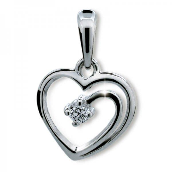 Přívěsek - srdce s diamantem DF1602