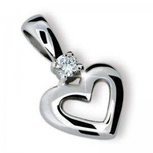Přívěsek - srdce s diamantem DF1603