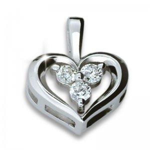 Přívěsek - srdce s diamanty DF1919