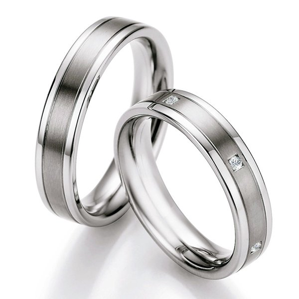Snubní prsteny ocelové s titanem TS607