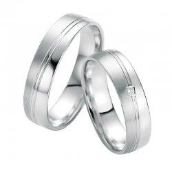 Snubní prsteny z bílého zlata s diamantem SP-10330