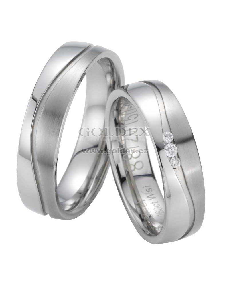 45802816e Snubní prsteny z oceli s diamanty ST20150 : Goldex.cz